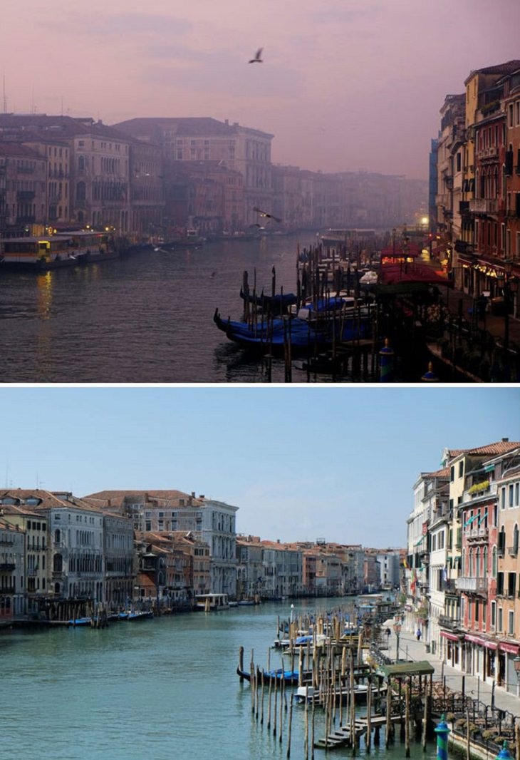 Before and After pictures that show comparisons of the reduced air pollution in cities around the world during the COVID-19 quarantine and lockdown, The Grand Canal, Venice, Italy