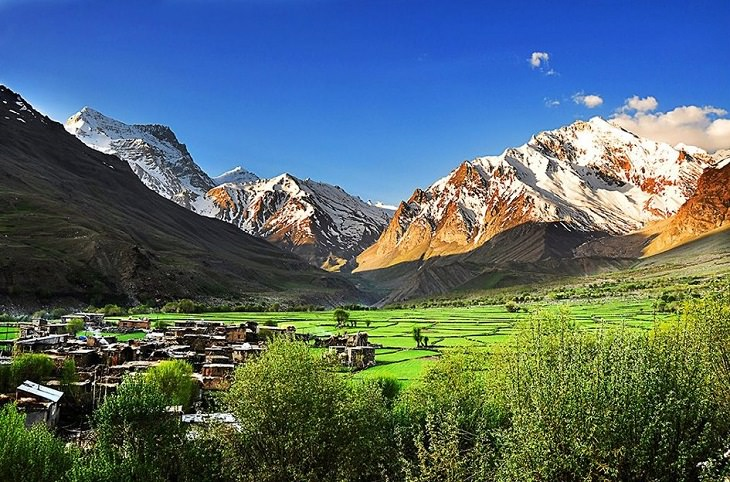 Beautiful scenery, sights and landscapes that can be seen by tourists and travelers in Ladakh, Union Territory in India, Panikhar village, in Suru Valley near the town of Kargil