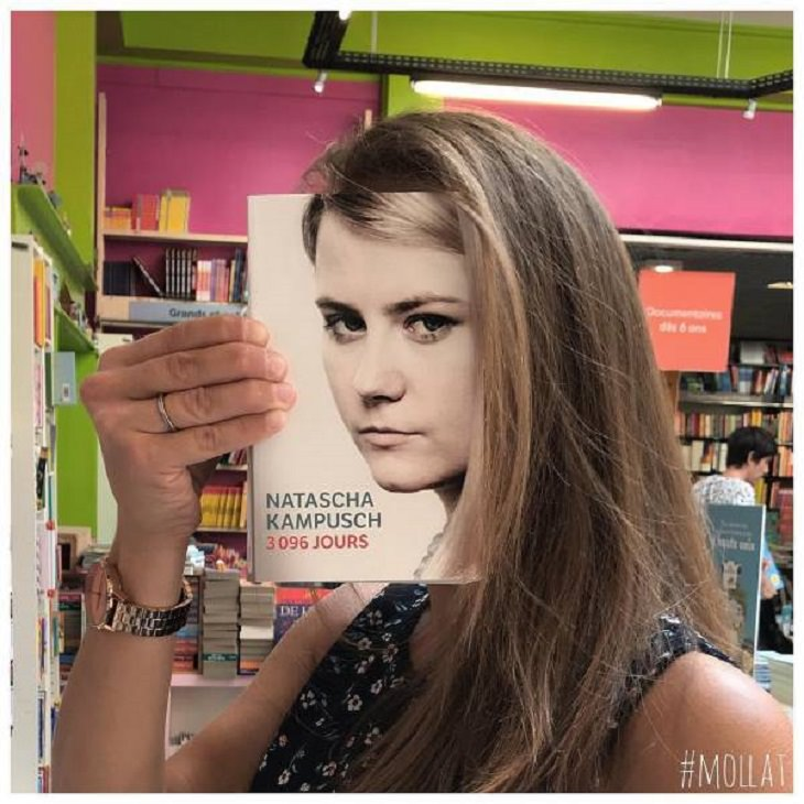 Beautiful, funny and interesting pictures taken by unique French Bookstore Librairie Mollat, of customers posing with various matching book covers
