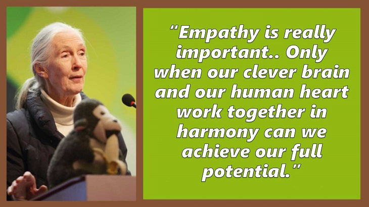 Inspiring and uplifting quotes and words of wisdom from expert on primates, Jane Goodall, Empathy is really important.. Only when our clever brain and our human heart work together in harmony can we achieve our full potential.