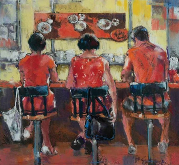 Winning Paintings entered into Artists Magazine Over 60 Art Competition organized by the Artists Network, It's Always Orange at the Goody Goody Omelet House (pastel on paper, 18×24) by Jeri Greenberg from Leland, North Carolina