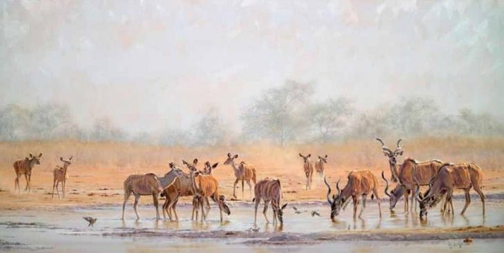 Winning Paintings entered into Artists Magazine Over 60 Art Competition organized by the Artists Network, Morning Drinks, Tsumcor (oil on linen, 32×63) by Paul B. Dixon from Capetown, South Africa