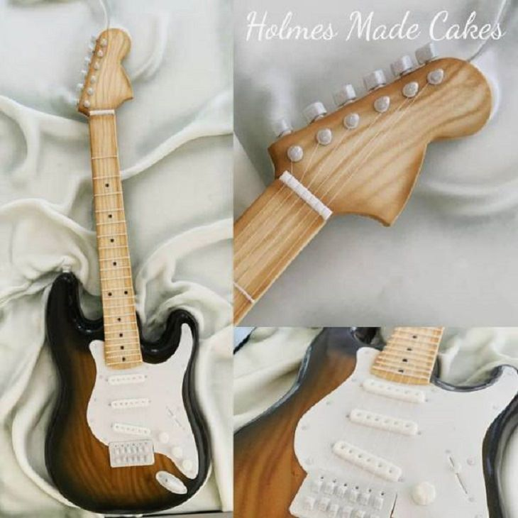 Interesting and creatively designed cakes that look too realistic to eat, edible guitar cake