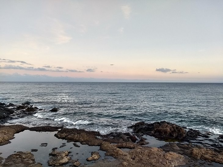 Photographs of the best sights and destinations in Lanzarote, one of the most popular islands in Spain's Canary Islands, view of the Atlantic Ocean as seen from Los Picollos