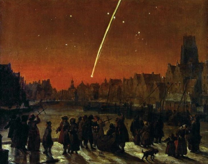 Comets that passed over earth in the last 5 centuries, The Great Comet of 1680, the first comet discovered by telescope, officially designated C/1680 V1, also known as Kirch's Comet and Newton's Comet