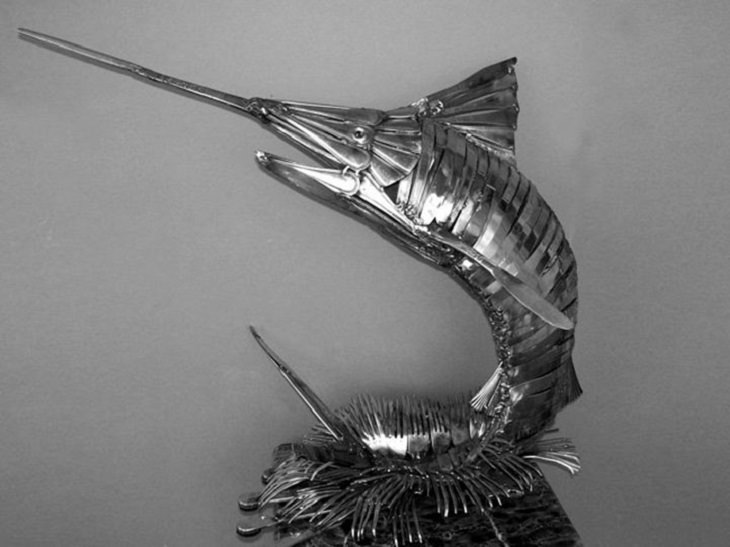 Sculptures welded and made using kitchenware, silverware and other utensils by Ohio Artist diagnosed with Parkinson's Disease, Gary Hovey, Making a Splash; marlin