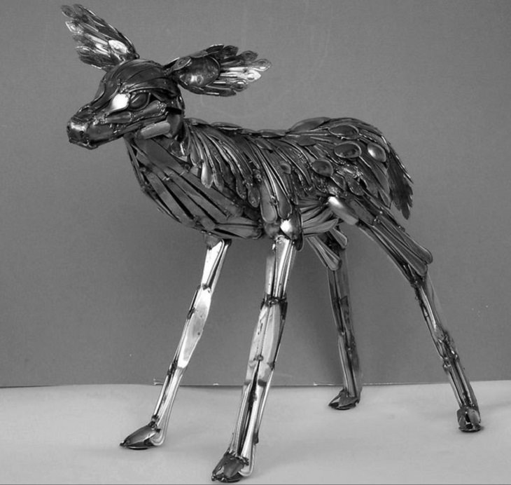 Sculptures welded and made using kitchenware, silverware and other utensils by Ohio Artist diagnosed with Parkinson's Disease, Gary Hovey, Standing Fawn