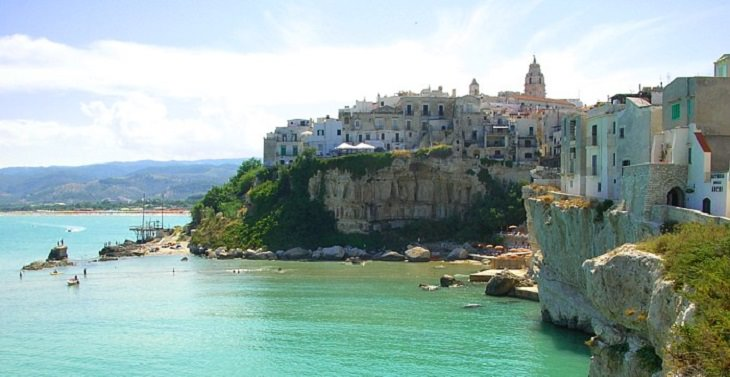 Beautiful monuments, cathedrals, beaches and other sights found in the hidden tourist haven of Vieste, a town and comune in southeast Italy, Gargano coast of the comune Vieste