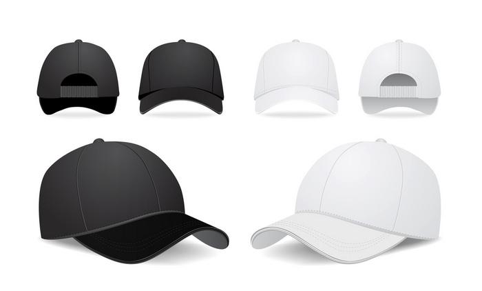 basball caps in black and white