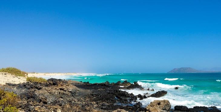 Beautiful sights, beaches, geological formations and cultural activities of Fuerteventura, the oldest and second largest of the Canary Islands,Corralejo Beach, located in Corralejo Natural Park