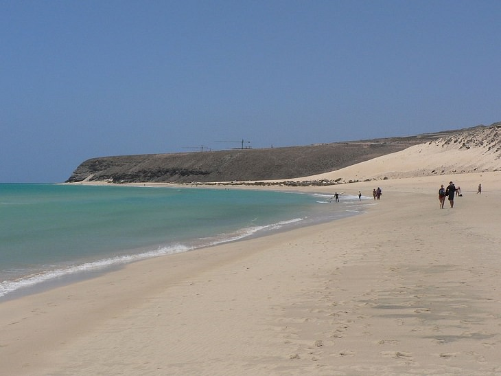 Beautiful sights, beaches, geological formations and cultural activities of Fuerteventura, the oldest and second largest of the Canary Islands,Sotavento Beach on the southeastern shores, also known as Playa de Sotavento de Jandia, a popular destination for kite surfing