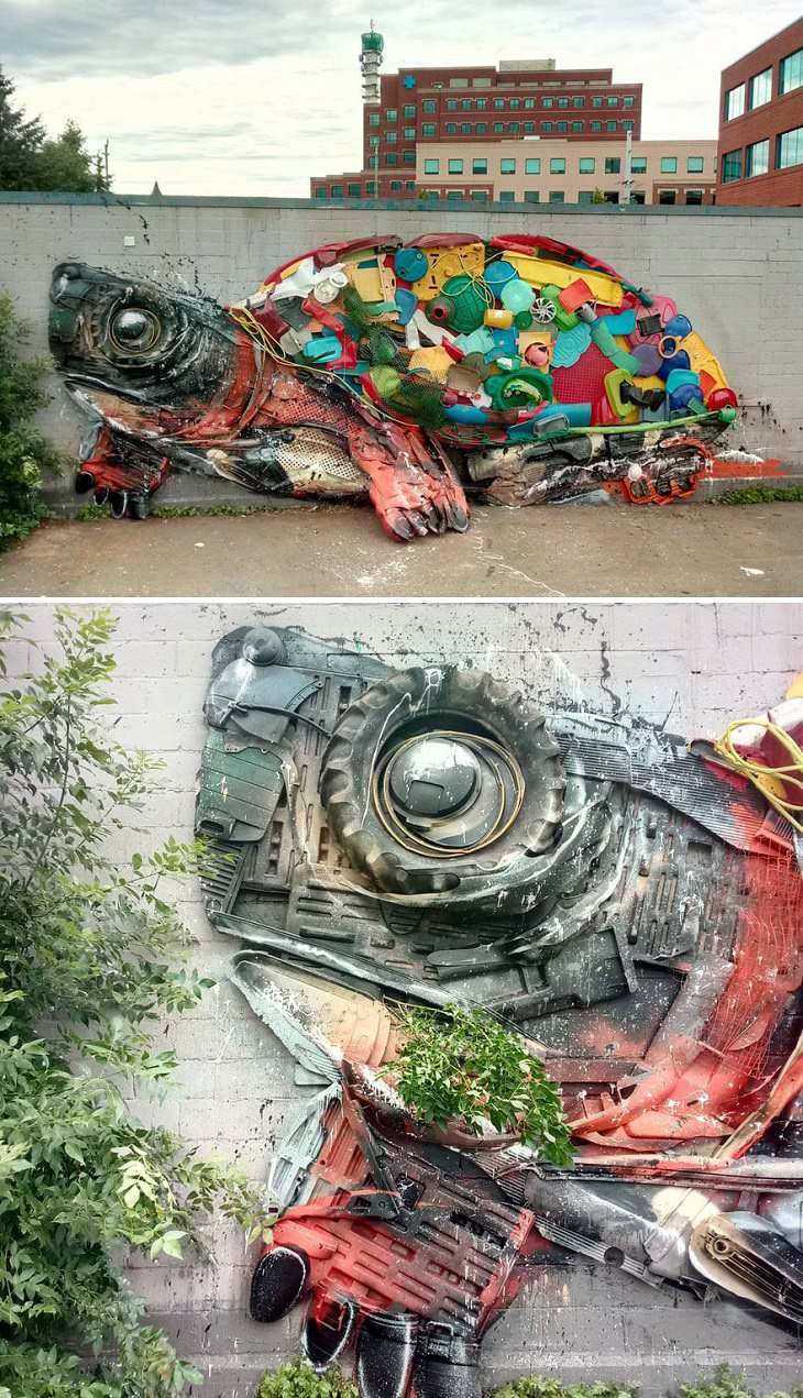 Animal Sculptures made of Trash by Portuguese Artist Artur Bordalo (Bordalo II), with an important anti-pollution message about the environment, turtle