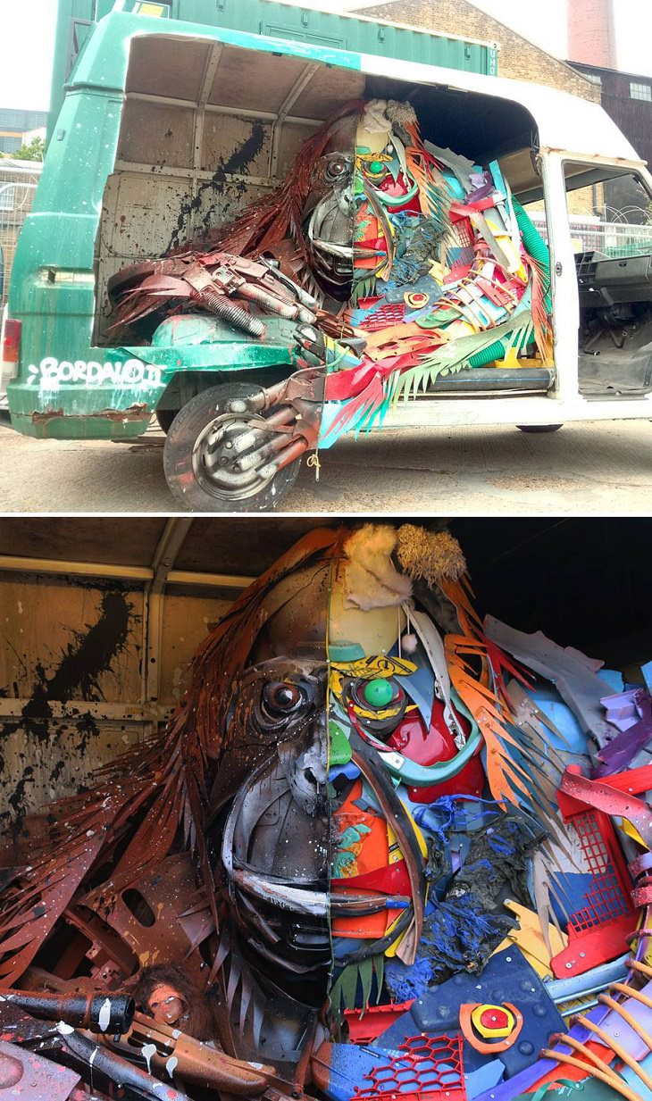 Animal Sculptures made of Trash by Portuguese Artist Artur Bordalo (Bordalo II), with an important anti-pollution message about the environment, monkey