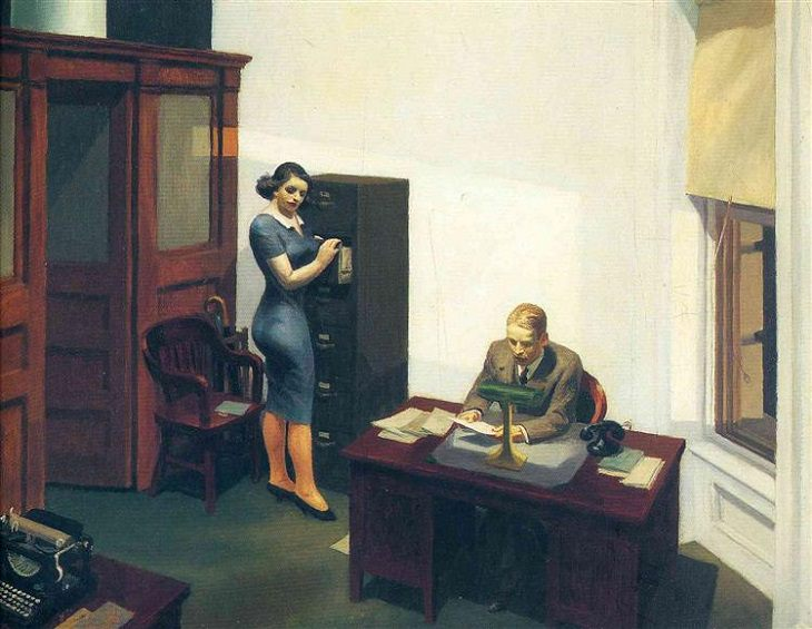 Oil paintings, drawings and other works of art from realist American artist Edward Hopper from New York City, Office at Night, 1940