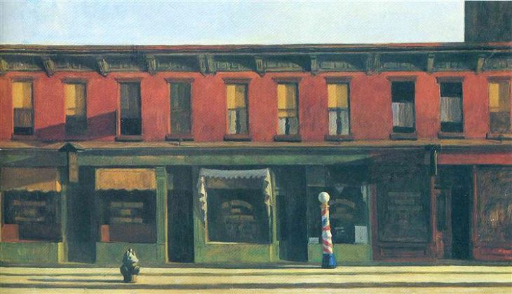 Oil paintings, drawings and other works of art from realist American artist Edward Hopper from New York City, Early Sunday Morning, 1930