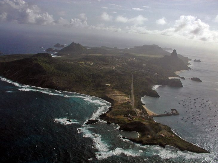 Beautiful historic sights, ruins and the many beaches of Fernando de Noronha in Pernambuco, Brazil, UNESCO World Heritage Site since 2001, An aerial view of the main island