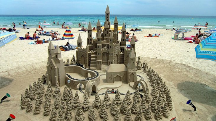 Beautiful, realistic, detailed sandcastles and structures sculpted by professional artists in sand