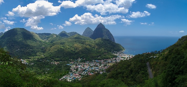 Beaches, festivals, cultural celebrations, world heritage sites, mountains, nature and wildlife, and other must see sights in Saint Lucia, windward islands, caribbean sea, The island of Saint Lucia
