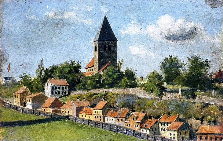 """Lesser known Impressionist and naturalist paintings by expressionist artist Edvard Munch, and creator of the iconic painting """"The Scream"""", Telthusbakken with Gamle Aker Church, 1880"""