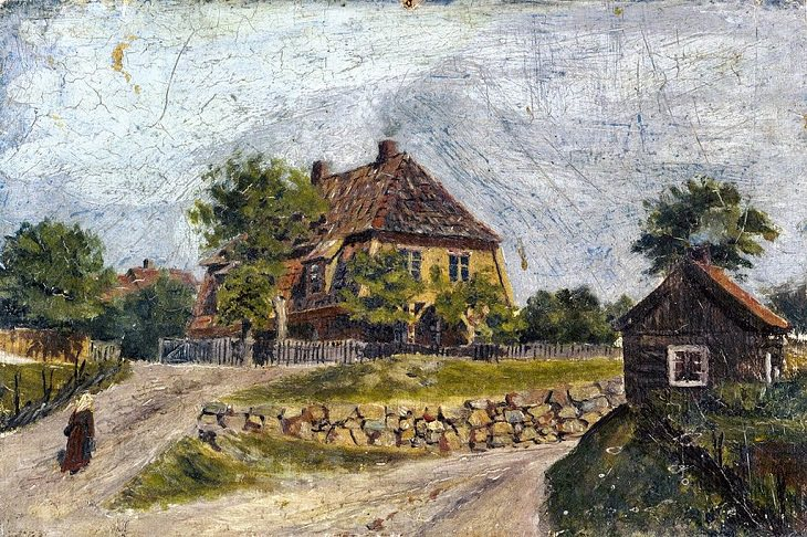 """Lesser known Impressionist and naturalist paintings by expressionist artist Edvard Munch, and creator of the iconic painting """"The Scream"""", Øvre Foss, 1880"""