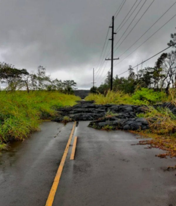 Photographs showing greenery, flowers, plants and trees growing over man-made objects, depicting times when nature won the battle against civilization, road in Hawaii that was destroyed by lava covered in grass