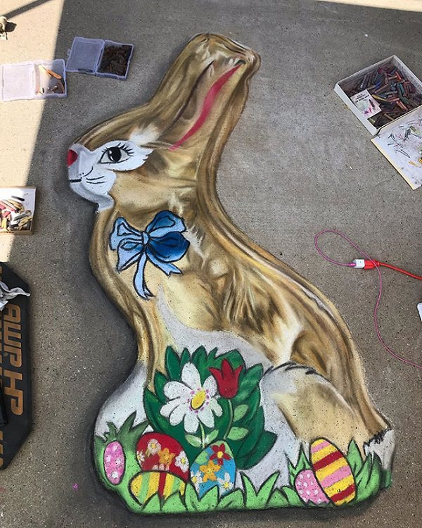 3-D chalk art by Jan Riggins and her teenage daughter Olivia, chocolate Easter bunny