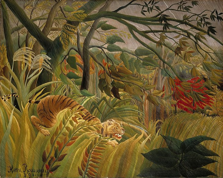 Impressionist, Naive and primitive style paintings from 19th Century French Artist Henri Rousseau, known for his jungle scenes, landscapes and still-lifes, Tiger in a Tropical Storm (Surprised), 1981, now in the National Gallery, London, England