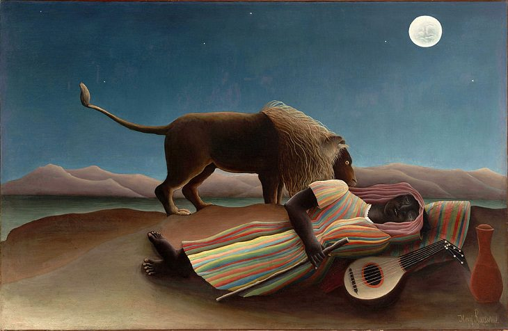 Impressionist, Naive and primitive style paintings from 19th Century French Artist Henri Rousseau, known for his jungle scenes, landscapes and still-lifes, The Sleeping Gypsy, 1897, now in the Museum of Modern Art