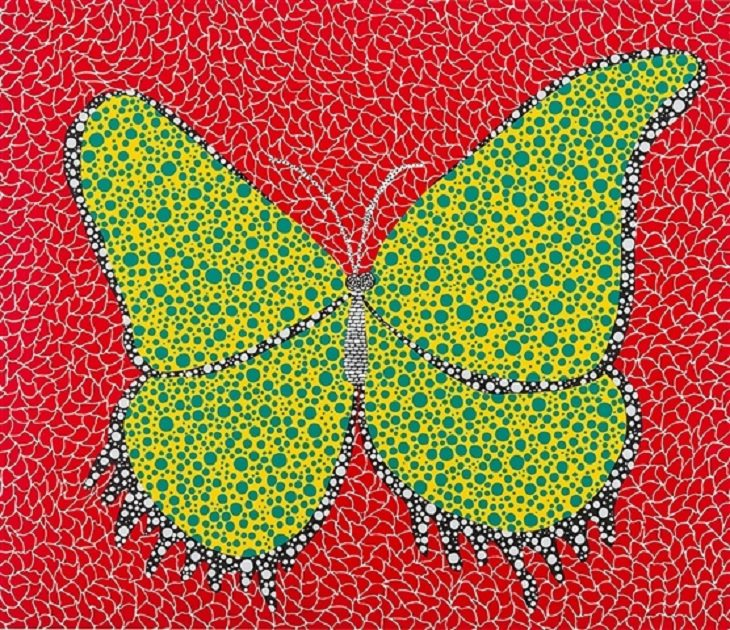 Paintings, artwork, installations and exhibitions created by Yayoi Kasuma, 91 year old Japanese Abstract Impressionist Artist, Butterfly, 1988