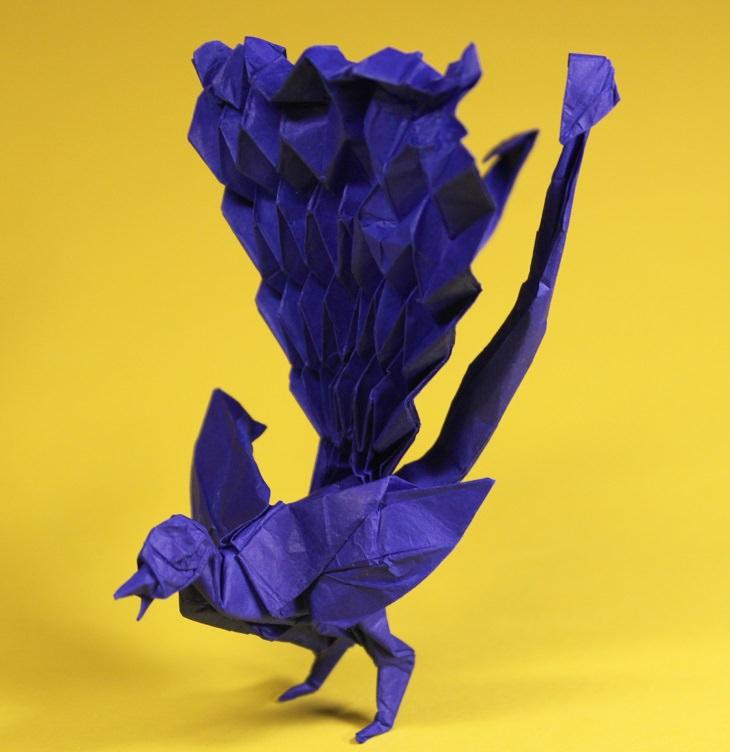 Origami animals, real and mythological, designed by Japanese origami expert Satoshi Kamiya, lyrebird