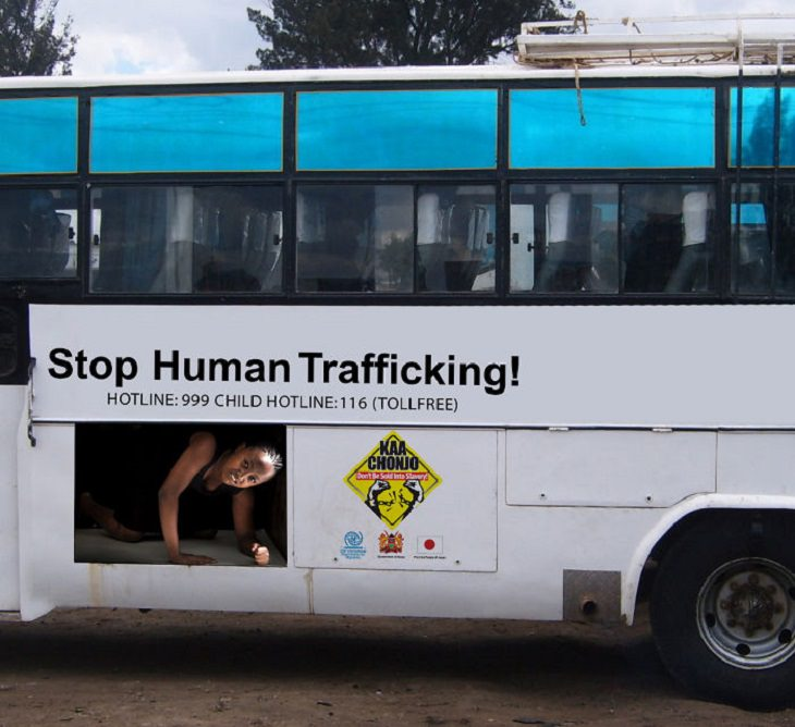 Creative and clever bus advertisements and bus art, Stop Human Trafficking, the International Organization for Migration