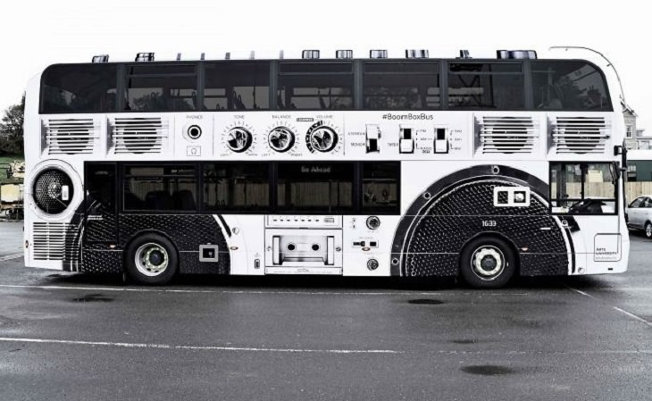 Creative and clever bus advertisements and bus art, The Boombox Bus at Arts University Bournemouth