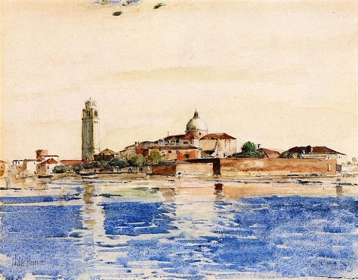 Impressionist paintings from American artist Frederick Childe Hassam, San Pietro, Venice, 1883