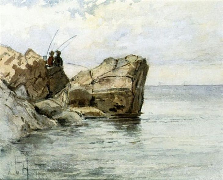 Impressionist paintings from American artist Frederick Childe Hassam, Young Fisherman, 1882