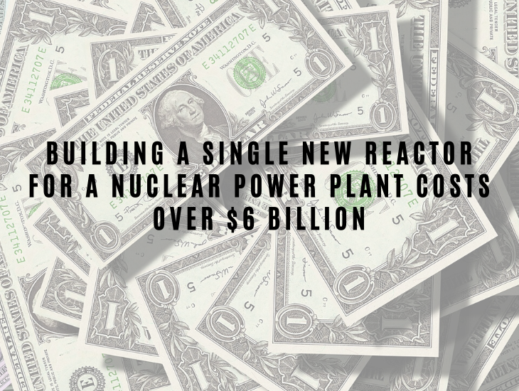 Interesting Facts About Nuclear Energy and Power Building a single new reactor for a nuclear power plant costs over $6 billion.