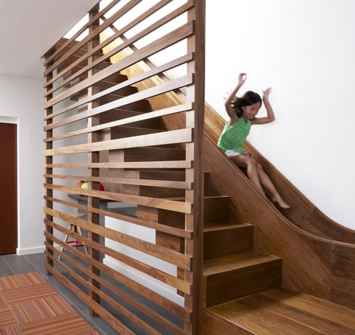 Unique and creative stair, staircase, stairwell designs for dream homes, The Slide Stairwell for kids