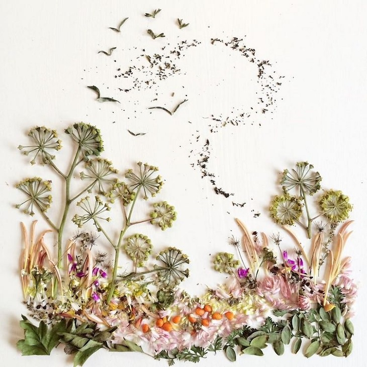 Botanical illustrations of landscapes and scenery made from recycled leaves and flowers by Bridget Beth Collins, aka Flora Forager, Meadow