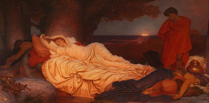 Paintings by various notable artists from different eras inspired by stories from Greek Mythology, 'Cymon and Iphigenia', by Frederic Leighton, 1884