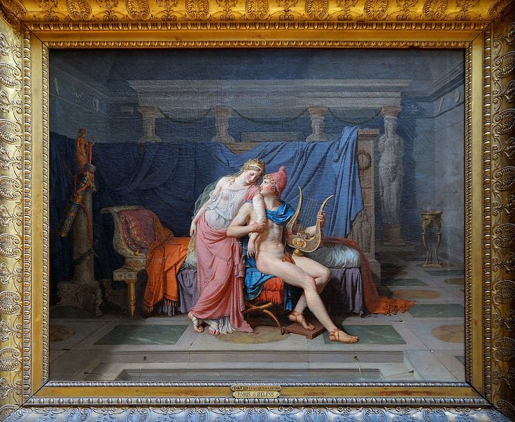 Paintings by various notable artists from different eras inspired by stories from Greek Mythology, 'The Love of Paris and Helen', by Jacques-Louis David, 1788