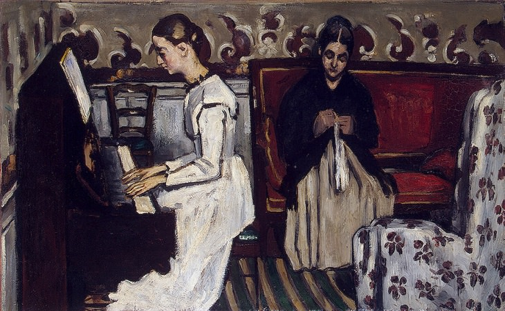 Post Impressionist works of art and paintings by highly influential French artist Paul Cézanne, the father of modern art, The Overture to Tannhauser: The Artist's Mother and Sister, 1868