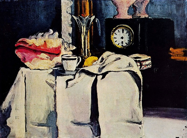 Post Impressionist works of art and paintings by highly influential French artist Paul Cézanne, the father of modern art, The Black Marble Clock, 1869-1871