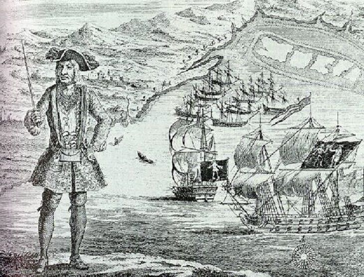 "Famous and feared 18th century pirates who plundered the seas in the Golden Age of Pirates, Bartholomew ""Black Bart"" Roberts"