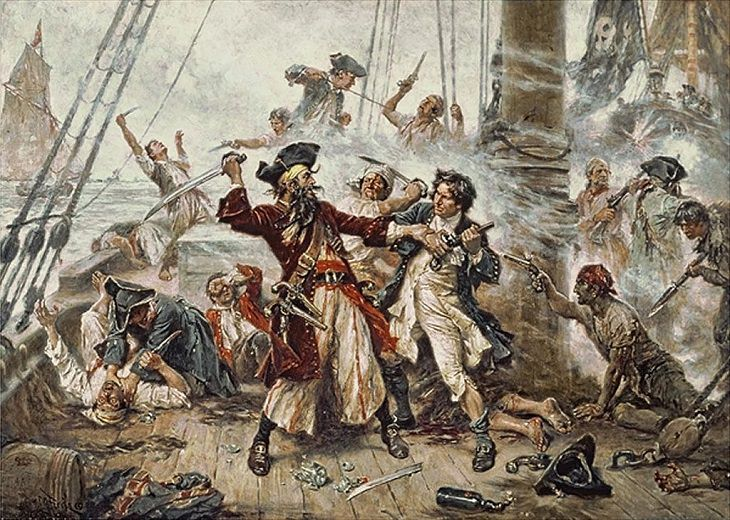 "Famous and feared 18th century pirates who plundered the seas in the Golden Age of Pirates, Edward ""Blackbeard"" Teach"