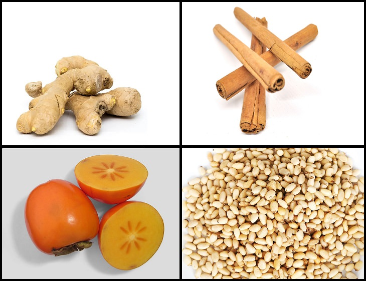 Recipe for healthy Korean traditional cold fruit tea, good for digestion, Sujeonggwa, ingredients, ginger, cinnamon, persimmon, pine nuts