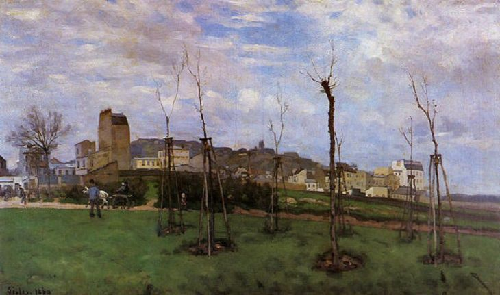 Painted landscape and other works of art made by 19th century impressionist painter Alfred Sisley, View of Montmartre from Cité des Fleurs to Les Batignolles, 1869