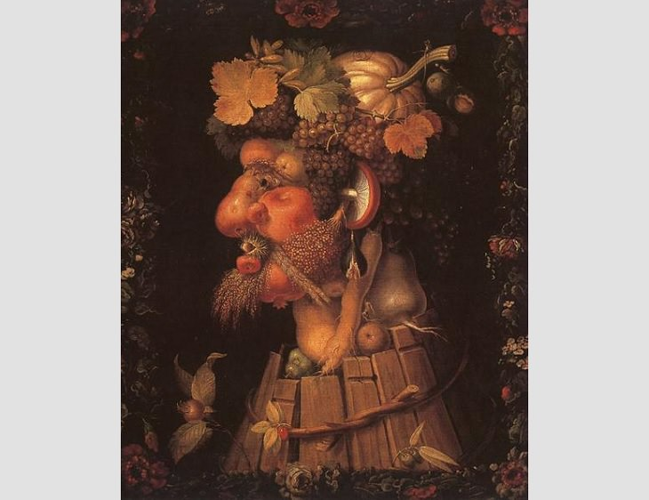 Portraits created with shapes of fruits, veggies and elements of nature by 16th century Italian mannerist artist from Renaissance period, Guiseppe Arcimboldo, Autumn, 1573