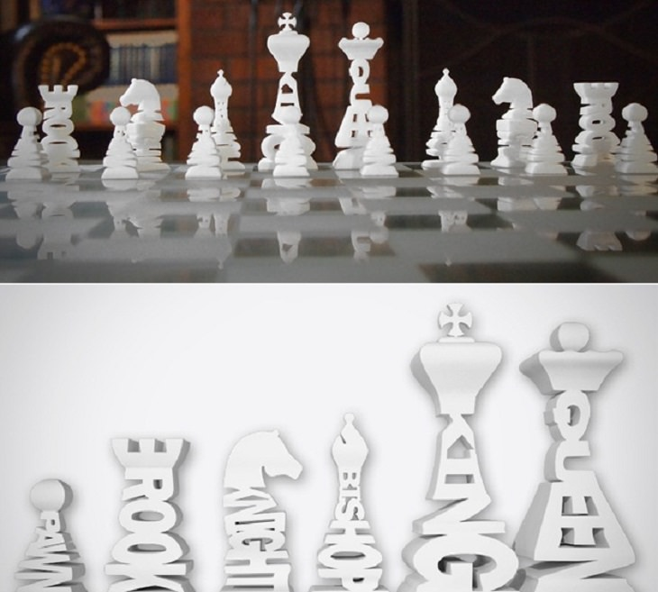 Unique and creative chess sets, Typographical Chess Set