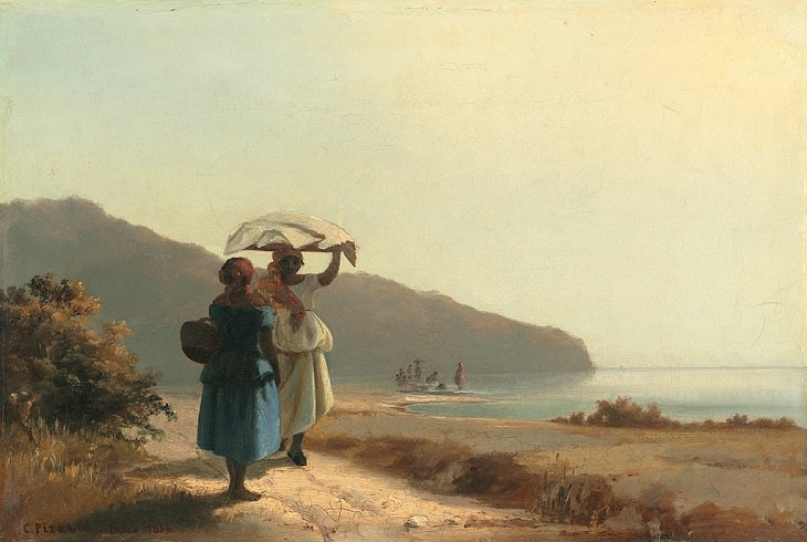 Best and most famous paintings by 19th century impressionist artist Camille Pissarro, Two Women Chatting by the Sea, 1856