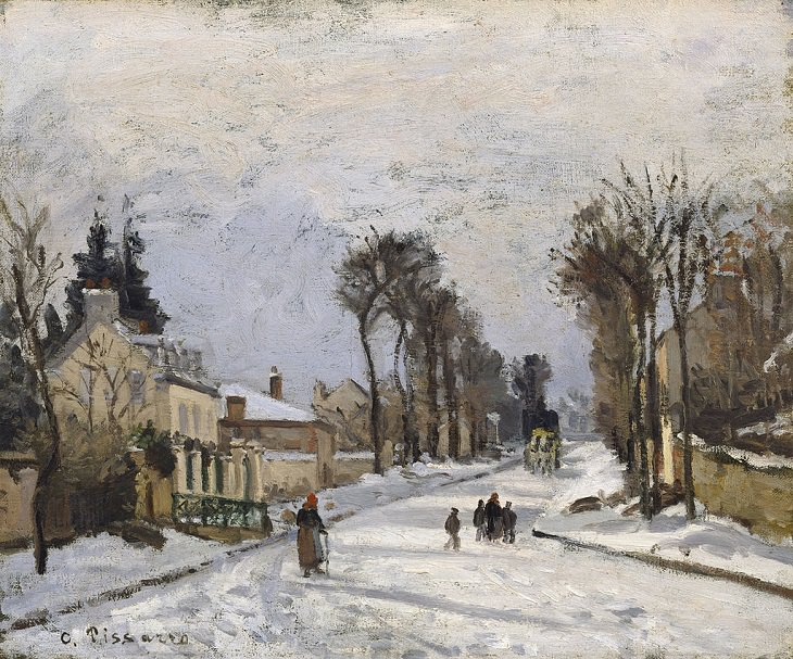 Best and most famous paintings by 19th century impressionist artist Camille Pissarro, The Versailles Road at Louveciennes, 1869