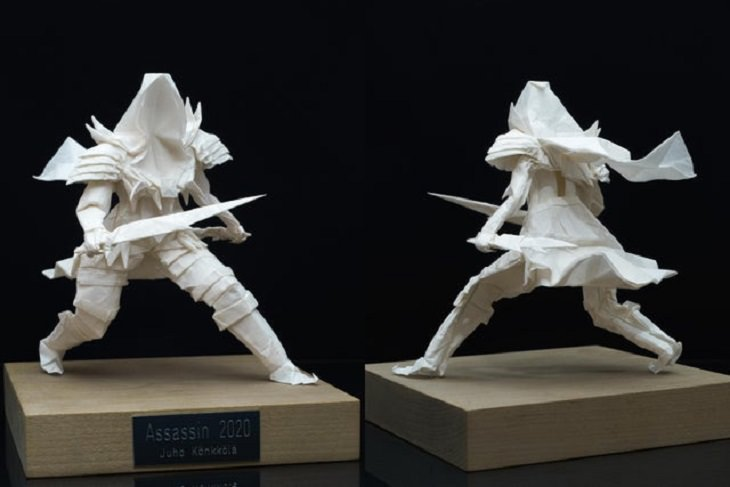 """Beautiful artistic creations made by humankind and civilization over time, An origami model entitled """"Assassin"""", created purely by folding from a single square sheet."""